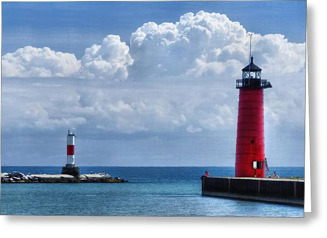 Steel Pier Greeting Cards - Studio Lighthouse Greeting Card by Joan Carroll