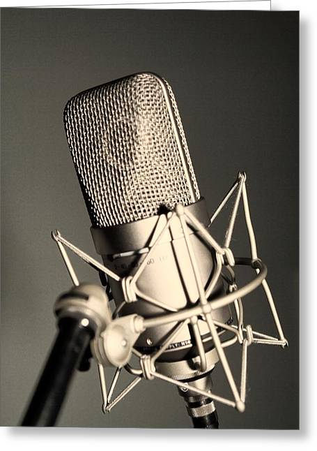 Recording Session Greeting Cards - Studio Mic Greeting Card by Kim Wilson