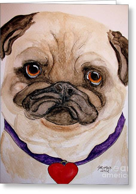Studley Has A Heart Greeting Card by Carol Grimes