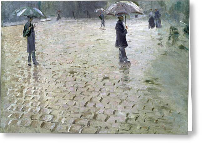 Drizzle Greeting Cards - Study for a Paris Street Rainy Day Greeting Card by Gustave Caillebotte