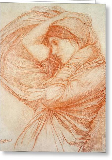 William Drawings Greeting Cards - Study for Boreas Greeting Card by John William Waterhouse