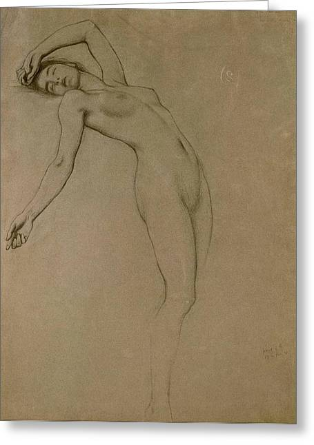 Curved Greeting Cards - Study for Clyties of the Mist Greeting Card by Herbert James Draper