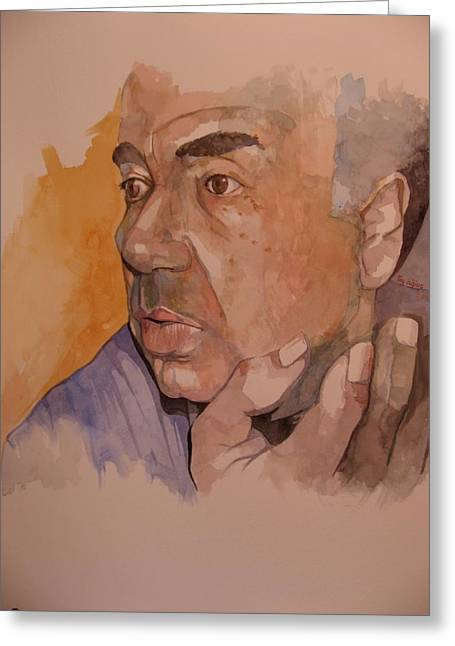 Orator Paintings Greeting Cards - Study for Rev Joe Greeting Card by Ray Agius