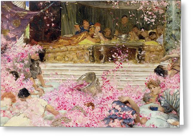 Cherry Blossoms Paintings Greeting Cards - Study for The Roses of Heliogabulus Greeting Card by Sir Lawrence Alma-Tadema