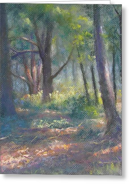 Dappled Light Pastels Greeting Cards - Study for Woodland Interior Greeting Card by Bill Puglisi