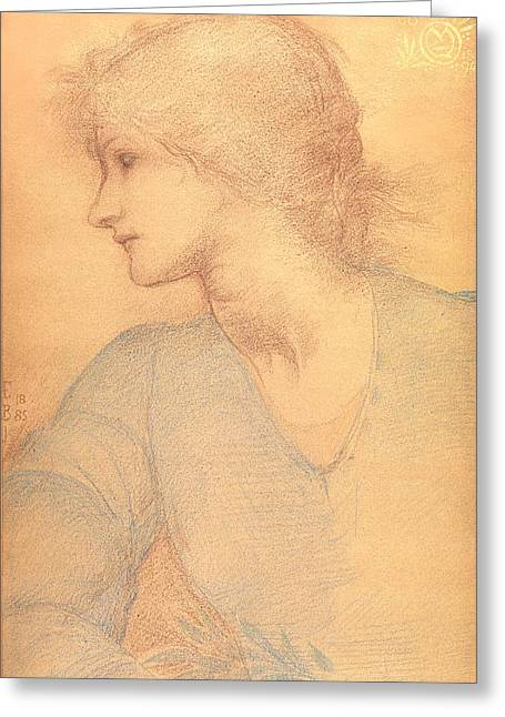 Coloured Greeting Cards - Study in Colored Chalk Greeting Card by Sir Edward Burne-Jones