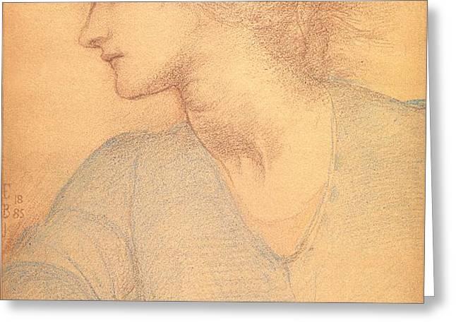 Study in Colored Chalk Greeting Card by Sir Edward Burne-Jones