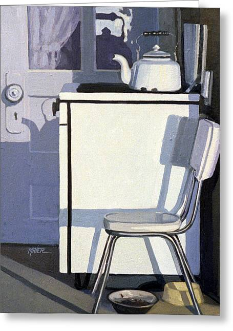 Tea Kettle Greeting Cards - Study in White Enamel Greeting Card by Donald Maier