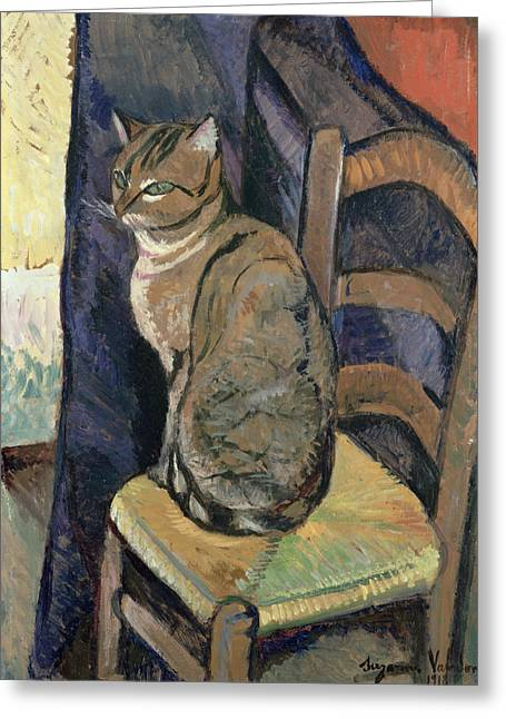 Whisker Greeting Cards - Study of A Cat Greeting Card by Suzanne Valadon