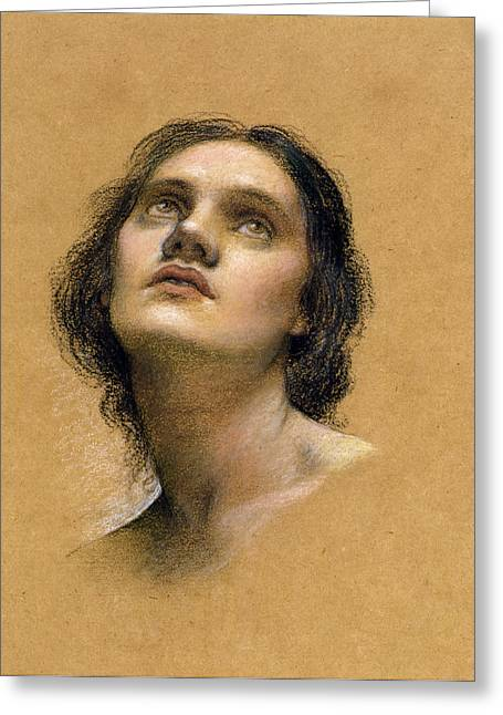 Feminine Pastels Greeting Cards - Study of a head Greeting Card by Evelyn De Morgan