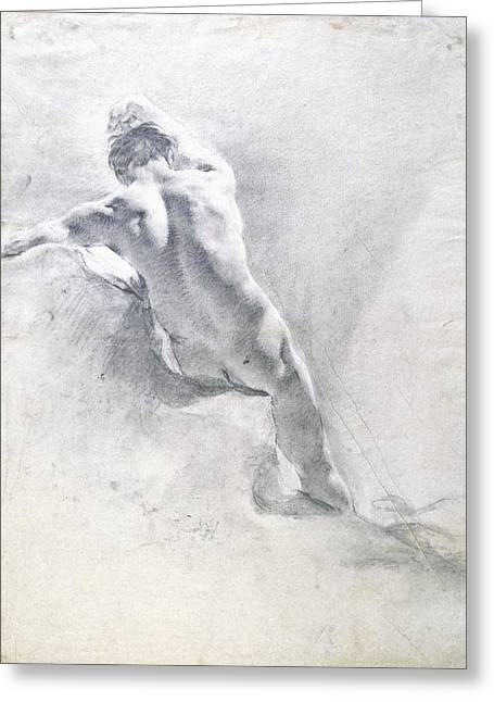 Naked Men Greeting Cards - Study of a male nude Greeting Card by  Giambattista Piazzetta
