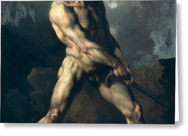 Study of a Male Nude Greeting Card by Theodore Gericault
