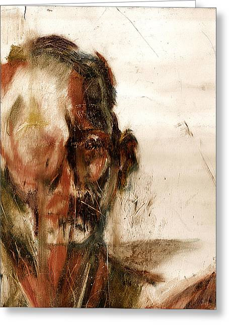 Oil Pastels Pastels Greeting Cards - Study of a Mans Face Greeting Card by David Finley
