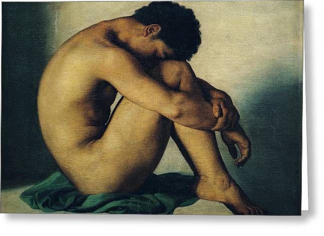 Naked Men Greeting Cards - Study of a Nude Young Man Greeting Card by Hippolyte Flandrin