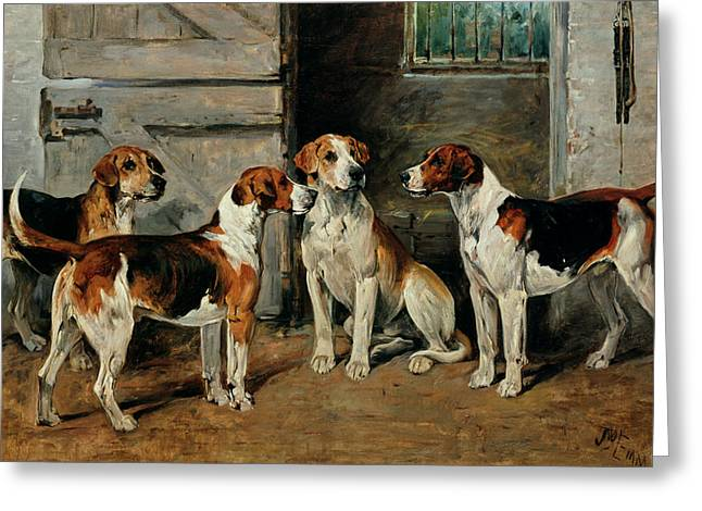 1843 Greeting Cards - Study of Hounds Greeting Card by John Emms