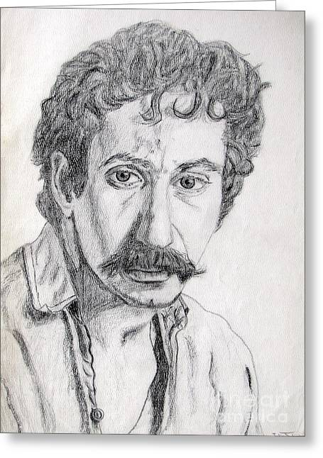 Study Of Jim Croce Greeting Card by Julie Coughlin