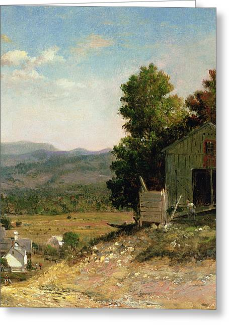 New England Landscape Greeting Cards - Study of Old Barn in New Hampshire Greeting Card by George Loring Brown