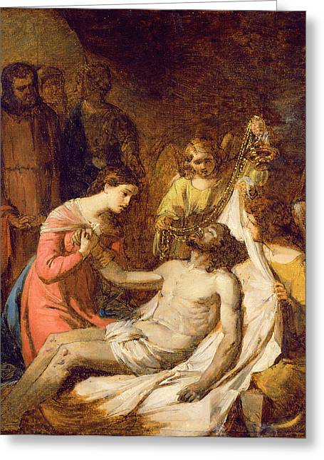Lamentation Greeting Cards - Study of the Lamentation on the Dead Christ Greeting Card by Benjamin West