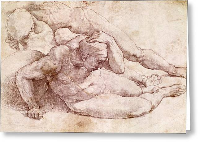 Masterpiece Paintings Greeting Cards - Study of Three Male Figures Greeting Card by Michelangelo