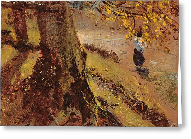 Constable Paintings Greeting Cards - Study of tree trunks Greeting Card by John Constable
