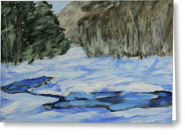 Jim Justinick Greeting Cards - Study sketch for Winter Creek Greeting Card by Jim Justinick