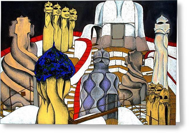 Studying Gaudi Greeting Card by Nina Mirhabibi