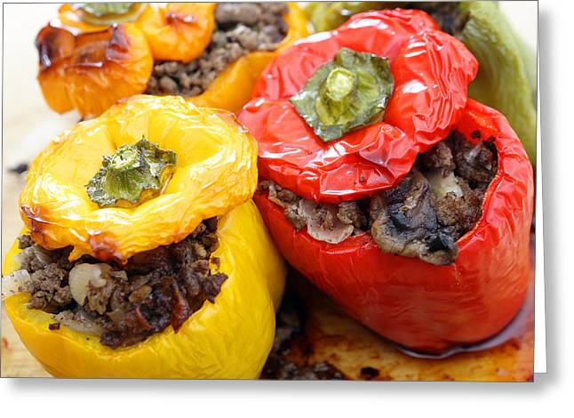 Yellow Pepper Greeting Cards - Stuffed peppers from the oven Greeting Card by Paul Cowan