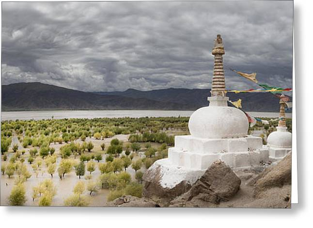 Tibetan Buddhism Greeting Cards - Stupas And Small Shrines Greeting Card by Phil Borges