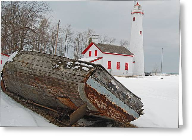 Sturgeon Greeting Cards - Sturgeon Point Lighthouse Greeting Card by Michael Peychich