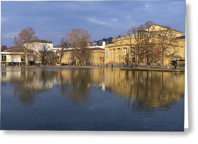 Reflexions Greeting Cards - Stuttgart State Theater beautiful reflection in blue water Greeting Card by Matthias Hauser