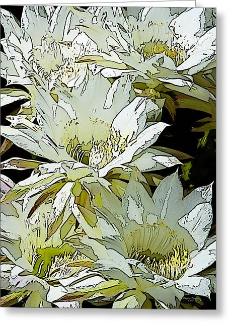 Stylized Cactus Flowers Greeting Card by Phyllis Denton