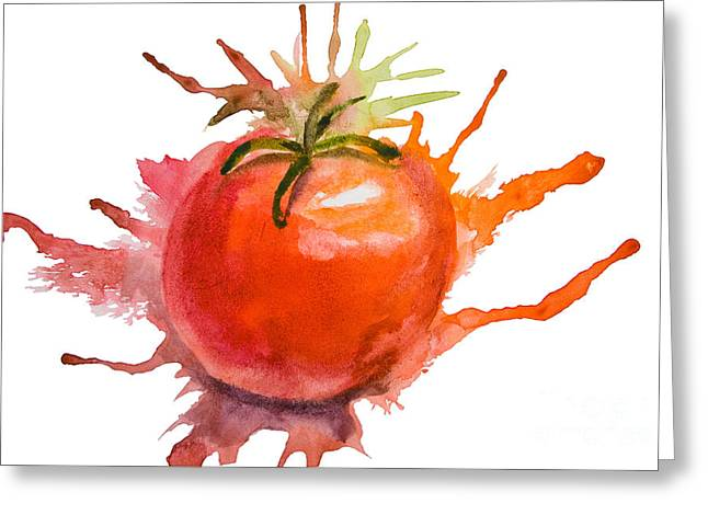 Vegetables Paintings Greeting Cards - Stylized illustration of tomato Greeting Card by Regina Jershova