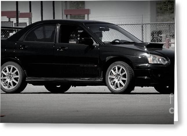 Subaru Impreza Wrx Sti Black Greeting Card by Bonae VonHeeder