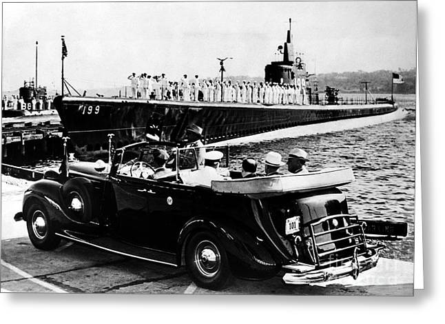 American Automobiles Greeting Cards - Submarine Base, 1940 Greeting Card by Granger