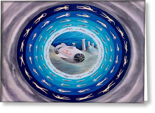 Inner Reality Paintings Greeting Cards - Submarine Greeting Card by Jon D Gemma