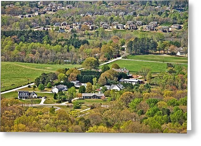 Suburban Landscape Greeting Card by Susan Leggett