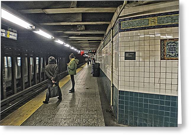 Inpatients Greeting Cards - SUbway is Delayed Greeting Card by Alex AG