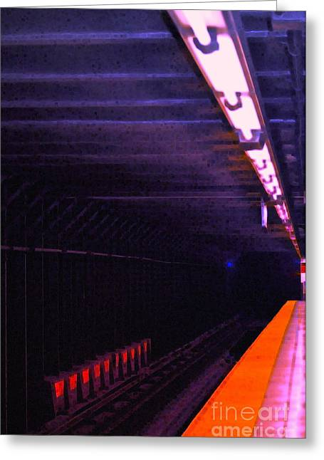 Subway Silence Greeting Card by Gwyn Newcombe