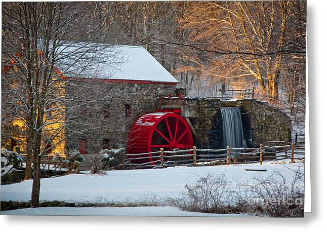 Grist Wheel Greeting Cards - Sudbury Gristmill Greeting Card by Susan Cole Kelly