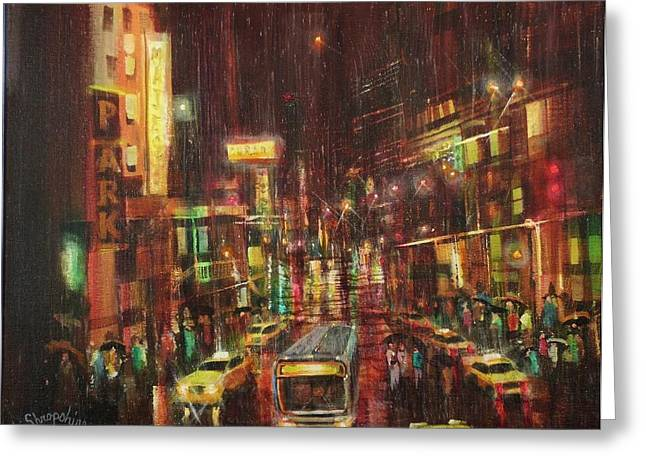 City Lights Greeting Cards - Sudden Downpour Opening Night Greeting Card by Tom Shropshire