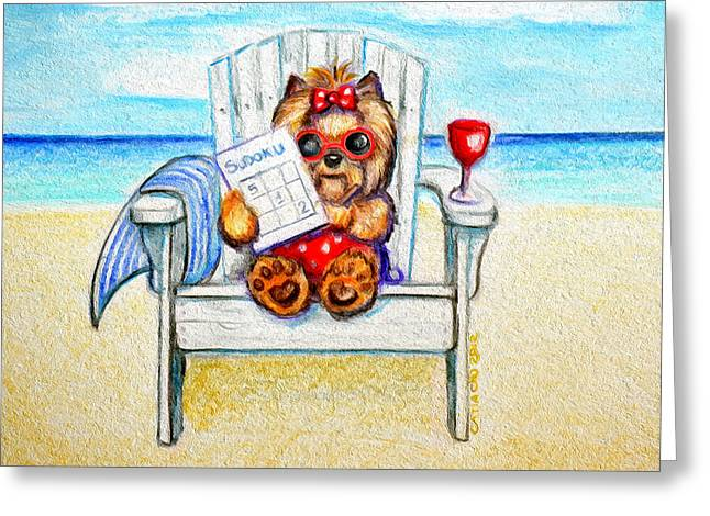 Yorkshire Terrier Watercolor Greeting Cards - Sudoku at the beach Greeting Card by Catia Cho