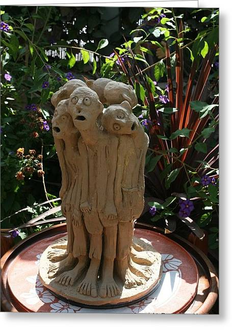 Feet Sculptures Greeting Cards - Suffering Circle ceramic sculpture brown clay  Greeting Card by Rachel Hershkovitz