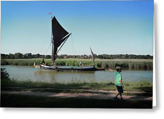 Snape Greeting Cards - Suffolk Barge Greeting Card by Charles Stuart