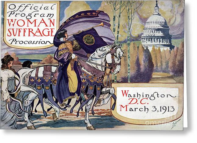 Women Suffrage Greeting Cards - Suffragette Parade, 1913 Greeting Card by Granger