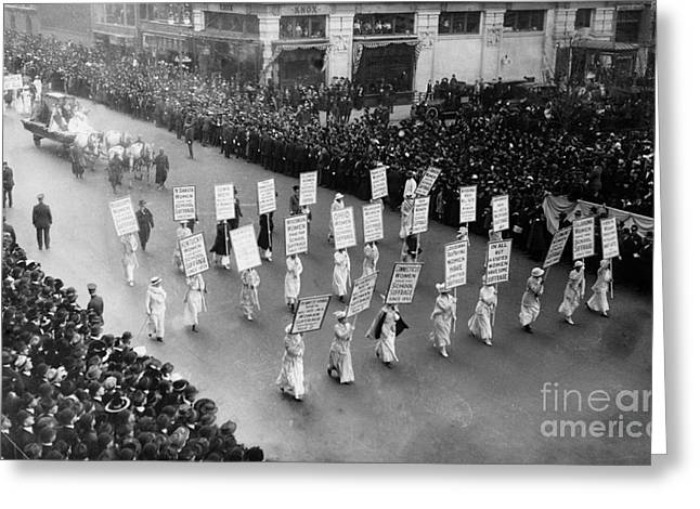 Protest Greeting Cards - Suffragettes Greeting Card by Photo Researchers