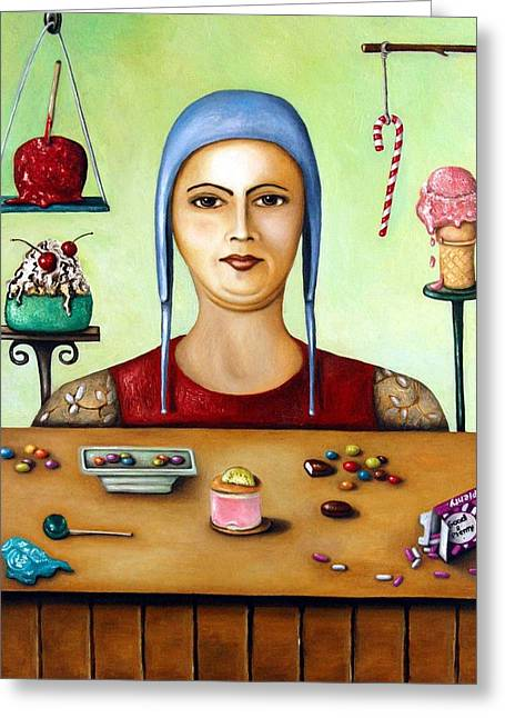 Candy Apples Greeting Cards - Sugar addict Greeting Card by Leah Saulnier The Painting Maniac