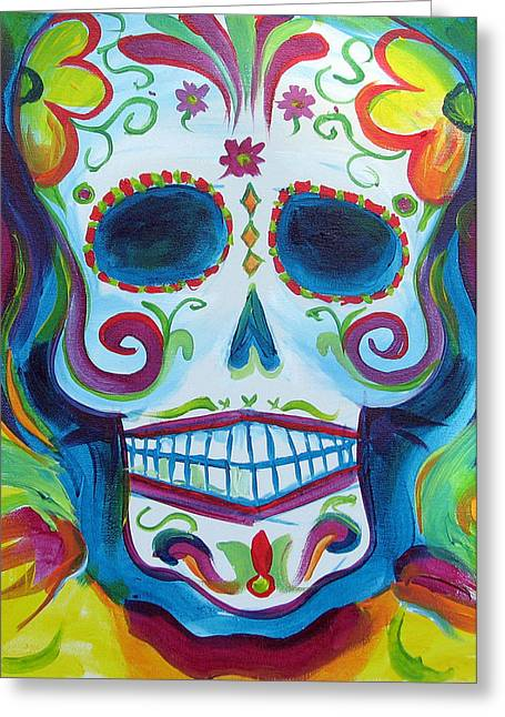 Sugar Skull Greeting Card by Janet Oh