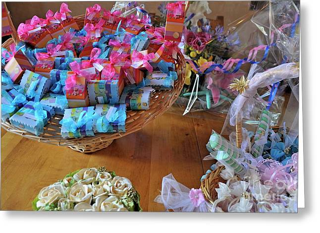 Sugared Almonds Greeting Cards - Sugared almond baskets Greeting Card by Sami Sarkis