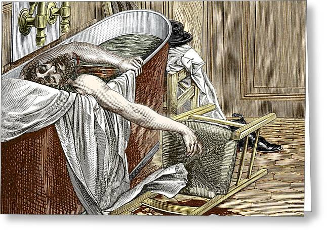 Pioneer Illustration Greeting Cards - Suicide Of Wells, Anaesthesia Pioneer Greeting Card by Sheila Terry