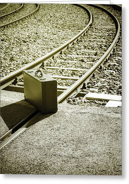 Railroad Crossing Greeting Cards - Suitcase Greeting Card by Joana Kruse